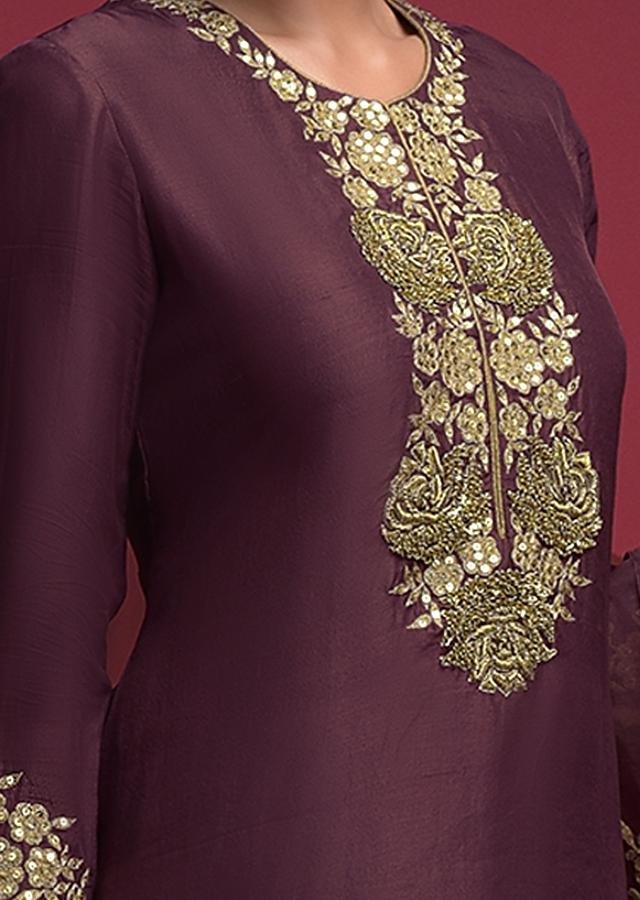 Plum Purple Salwar Suit In Cotton Silk With Zardozi Embroidered Floral Pattern On The Placket Online - Kalki Fashion