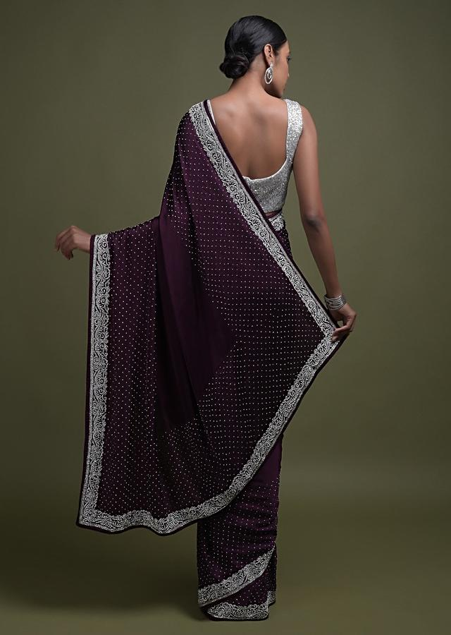 Plum Purple Saree In Satin Blend With Stone Work In Floral Pattern On The Border Online - Kalki Fashion