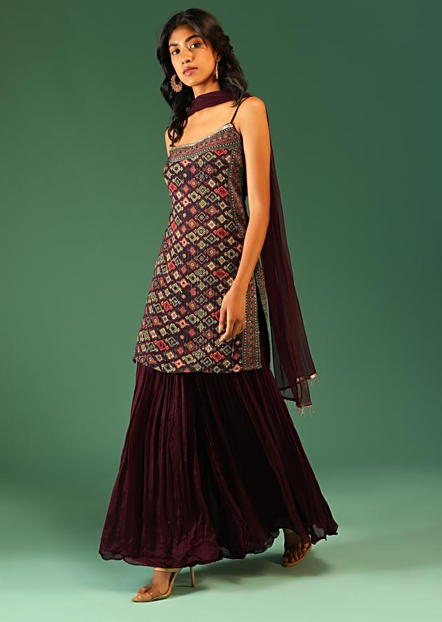 Plum Purple Sharara Suit In Chiffon With Patola Print All Over And Spaghetti Straps Online - Kalki Fashion