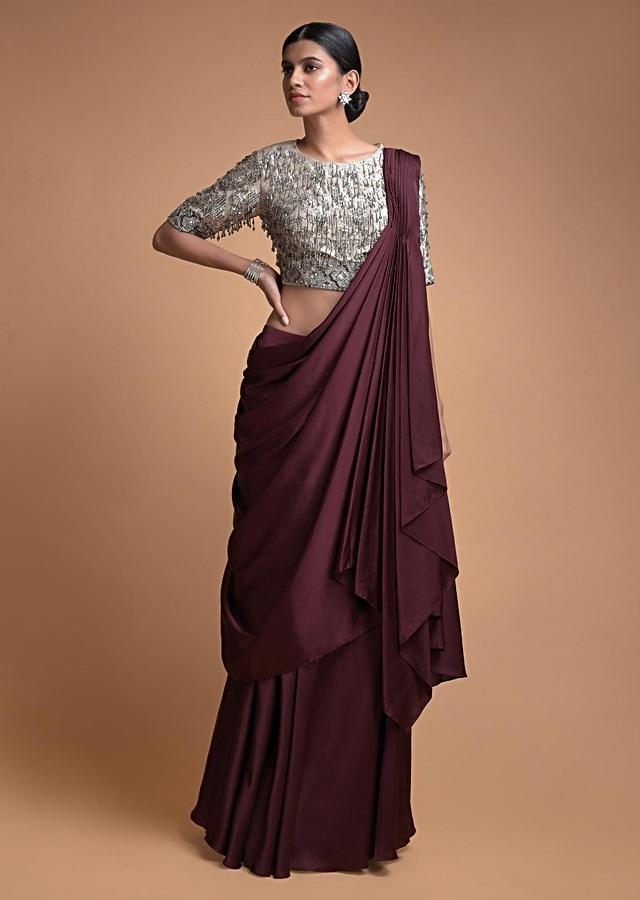Plum Purple Skirt With A Pre Stitched Pallu Drape With Embellished Beige Blouse Online - Kalki Fashion