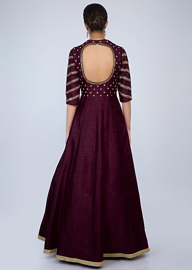 Plum Anarkali Dress In Raw Silk Embroidered With Purple Banarasi Cotton Brocade Dupatta Online - Kalki Fashion