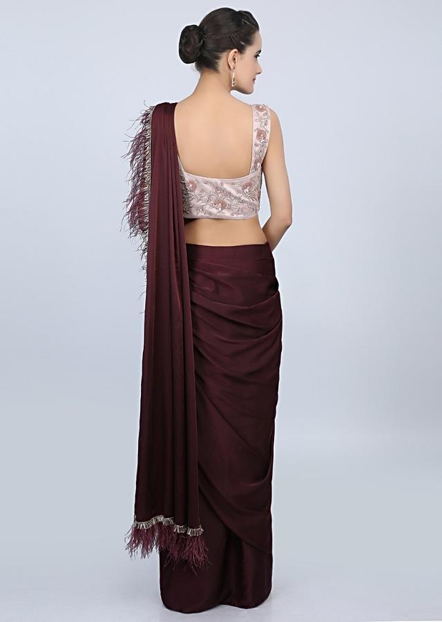 Plum Ready Plated Saree In Satin With Cowl Drape And Feathered Pallo Online - Kalki Fashion