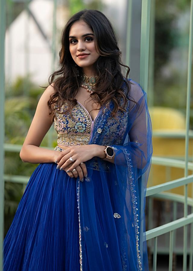 Pooja Mundhra In Kalki Royal Blue Gathered Skirt And Crop Top With Embossed Hand Embroidery In Floral Motifs