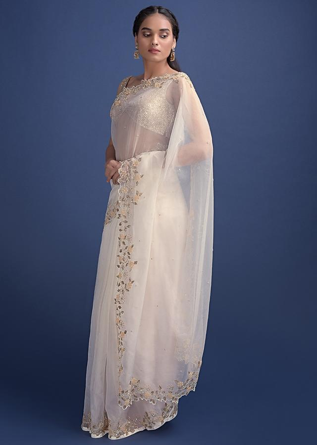 Porcelain White Saree In  Organza Enhanced With Embroidered Floral Pattern Online - Kalki Fashion