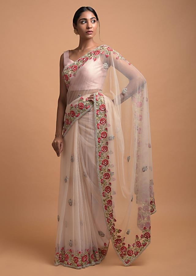 Posy Peach Saree In Net With Resham Embroidered Floral Border And Buttis Online - Kalki Fashion