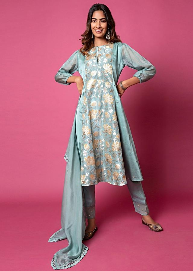 Powder Blue A Line Suit With Floral Hand Woven Banarasi On The Centre Kali And Cheeta Embroidery Online - Kalki Fashion