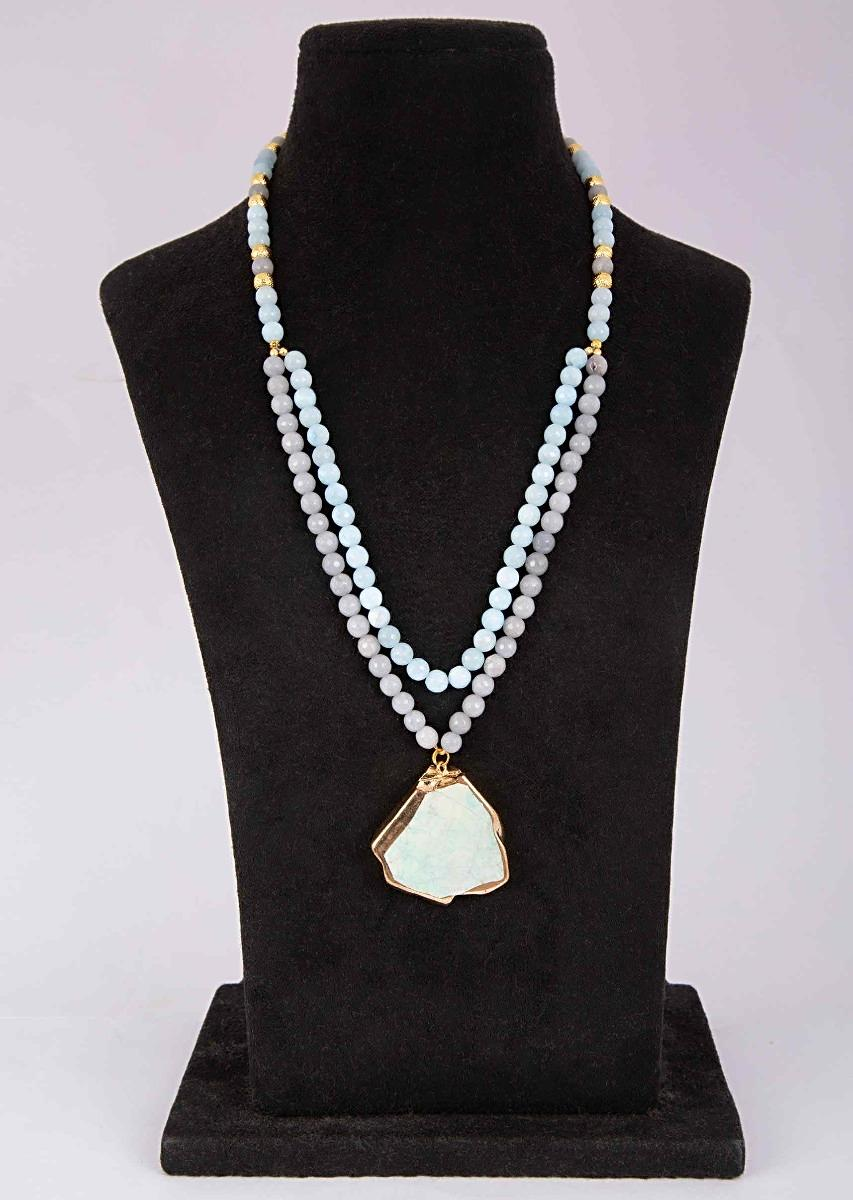 9b231a93fd Powder blue and grey color double layer beaded necklace with a green semi  precious stone pendant ...