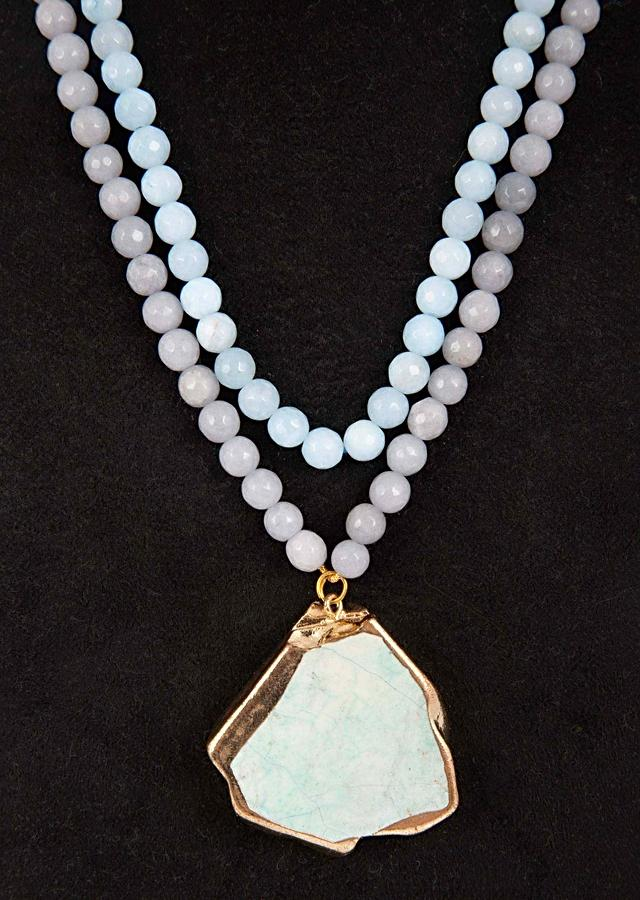 Powder Blue And Grey Color Double Layer Beaded Necklace With A Green Semi Precious Stone Pendant Online - Kalki Fashion