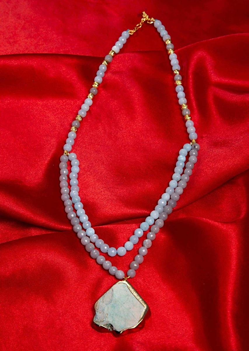 6465ccd527 Powder blue and grey color double layer beaded necklace with a green semi  precious stone pendant only on KalkiMore Detail