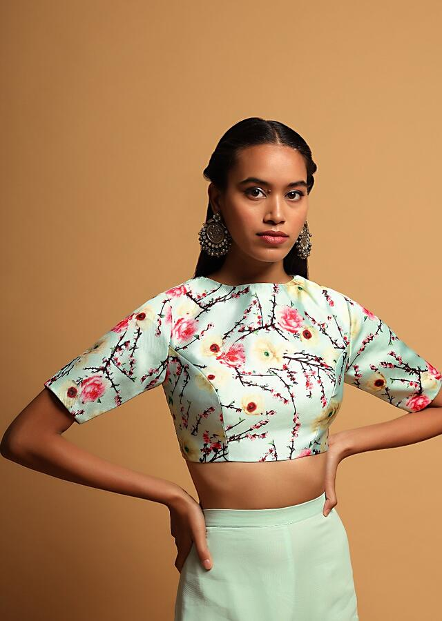 Powder Blue Blouse In Silk With Floral Print All Over And Half Sleeve Design Online - Kalki Fashion