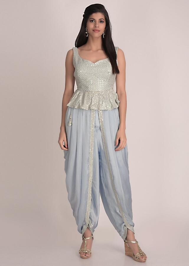 Powder Blue Dhoti In Crepe With Chiffon Crop Top And Net Jacket Online - Kalki Fashion