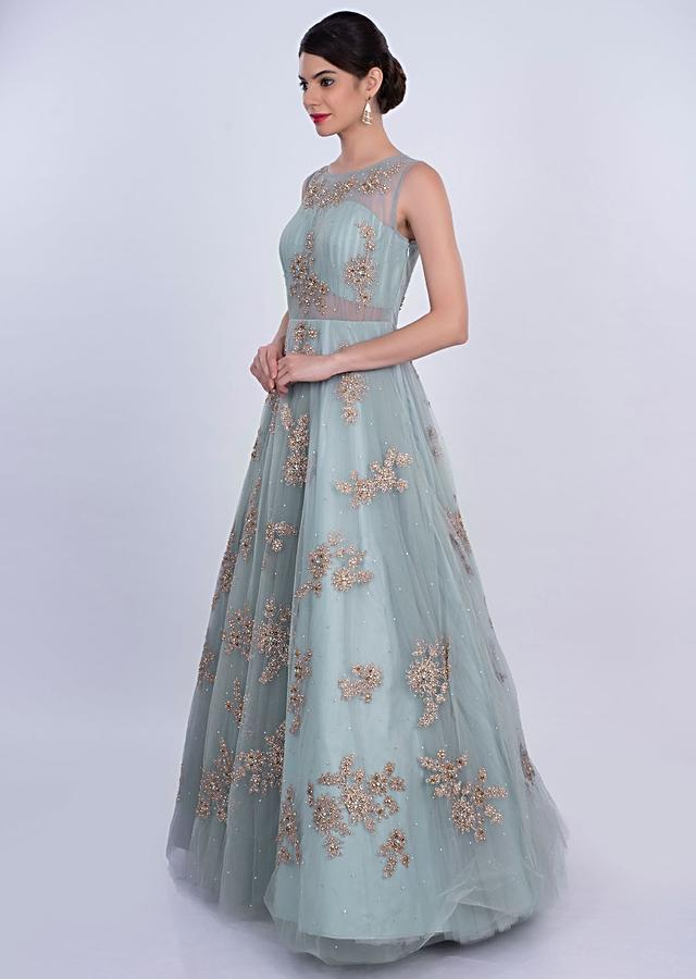 Powder Blue Net Gown With Double Layers And Zari Embroidered Butti Online - Kalki Fashion