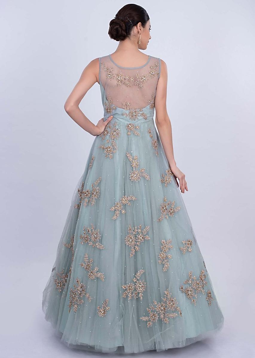 2e8c72469 Powder blue double layer net gown with zari embroidered butti only ...