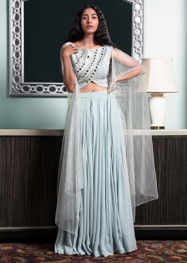 Powder Blue Flared Palazzo In Chiffon With Mirror Abla Embellished Raw Silk Blouse Online - Kalki Fashion