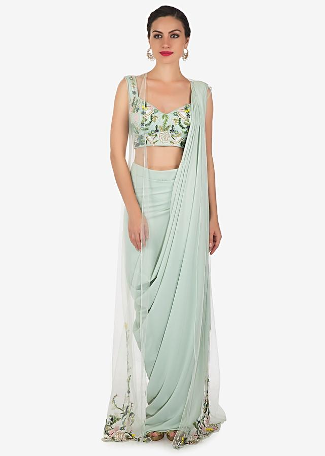 Powder Blue Drape Suit In Georgette With Net Jacket And French Knot Work Online - Kalki Fashion