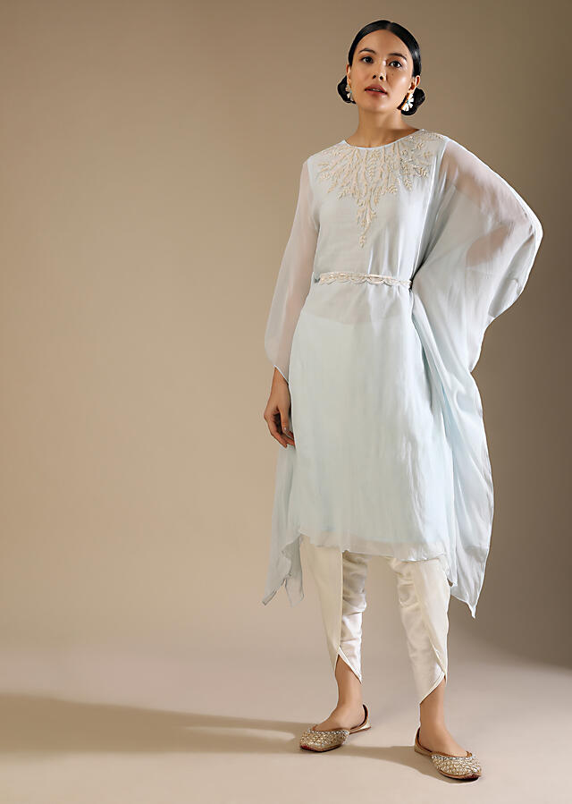 Powder Blue Kaftan And Dhoti Suit With Hand Embroidery On The Neckline With Sequins And Cut Dana Along With A Belt Online - Kalki Fashion