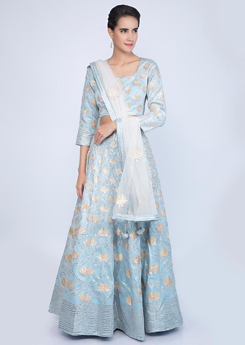 Powder Blue Lehenga Set In Lace Embroidered Cotton With Off White Net Dupatta Online