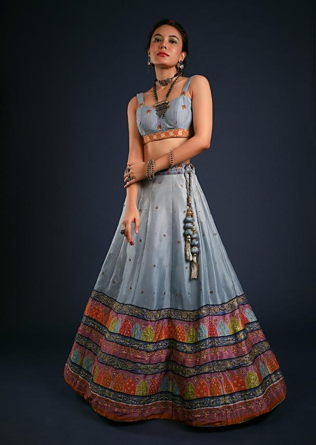 Powder Blue Ombre Lehenga With Multicolored Mughal Inspired Print On The Border And Cut Dana Accents Online - Kalki Fashion