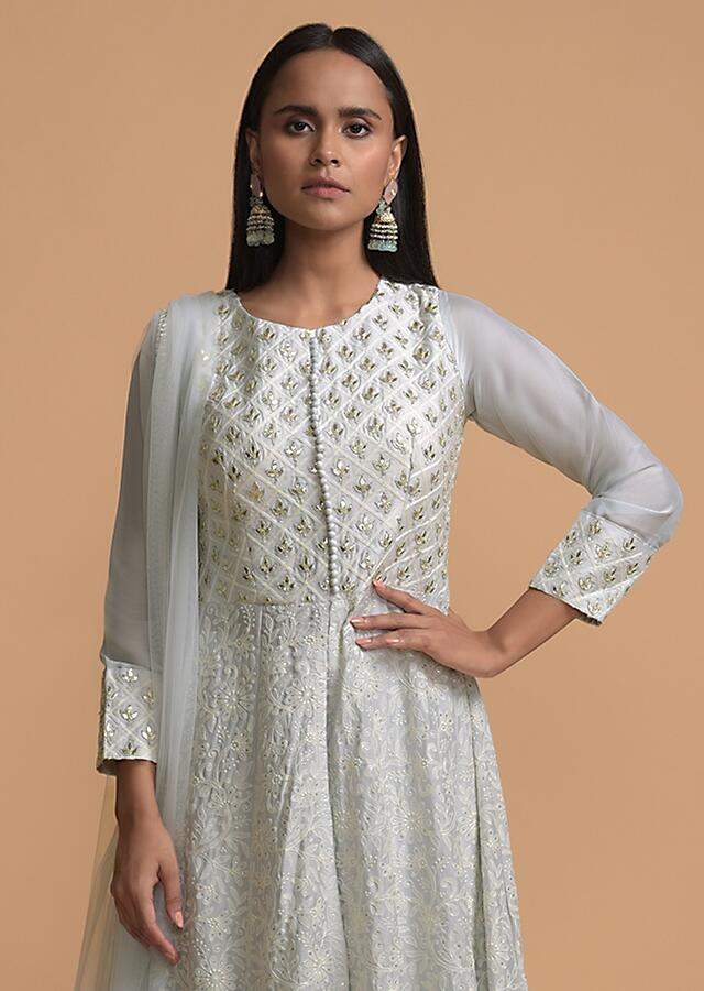 Powder Blue Palazzo Suit With A Lucknowi Anarkali Kurti Having A Front Slit And Gotta Work Online - Kalki Fashion