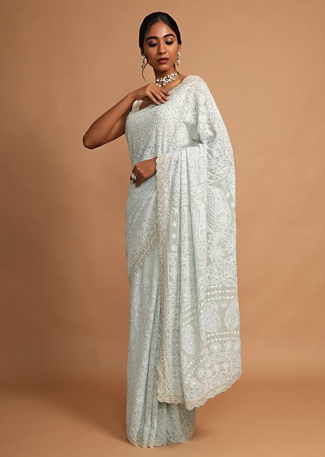 Powder Blue Saree In Georgette With Lucknowi Thread Embroidered Floral Jaal Online - Kalki Fashion