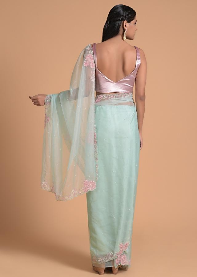 Powder Blue Saree In Organza With Applique And Moti Embroidered Floral Pattern On The Border Online - Kalki Fashion