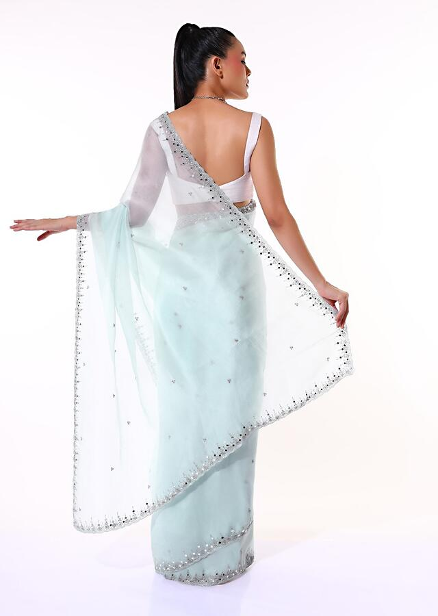 Powder Blue Saree In Organza With Mirror Embroidered Scallop Border Along With Cut Dana Accents Online - Kalki Fashion