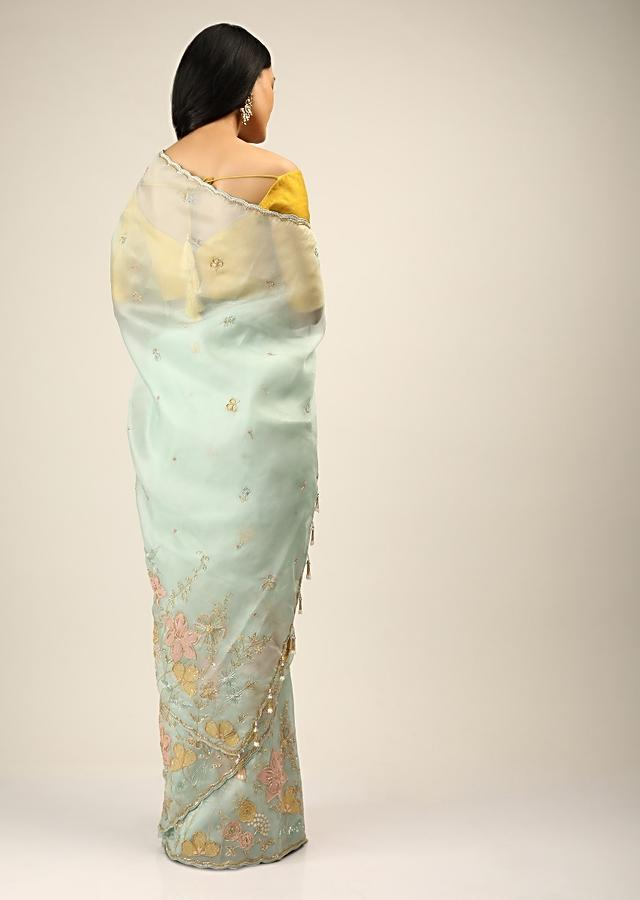 Powder Blue Saree In Organza With Multi Colored Applique Flowers And Cut Dana Accents Online - Kalki Fashion