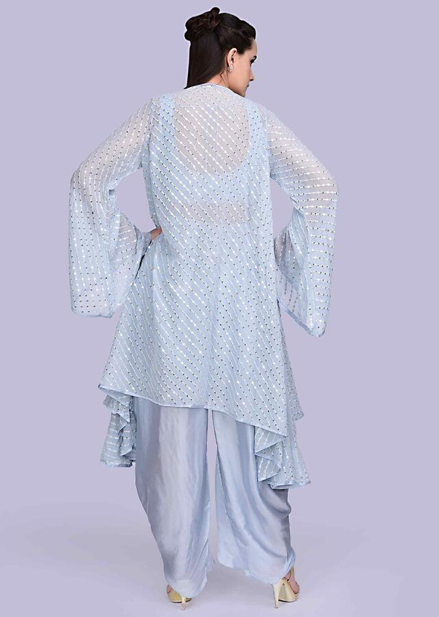 Powder Blue Dhoti In Satin With Mirror Embroidered Crop Top And Long Georgette Jacket Online - Kalki Fashion
