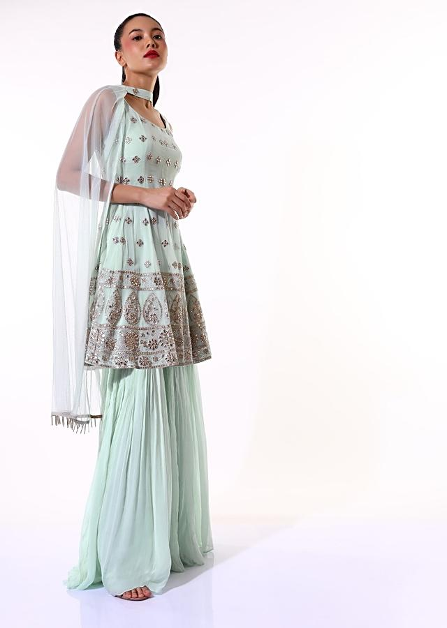 Powder Blue Sharara Suit In Georgette With Zari And Abla Embroidered Elaborate Border And Butti Work Online - Kalki Fashion