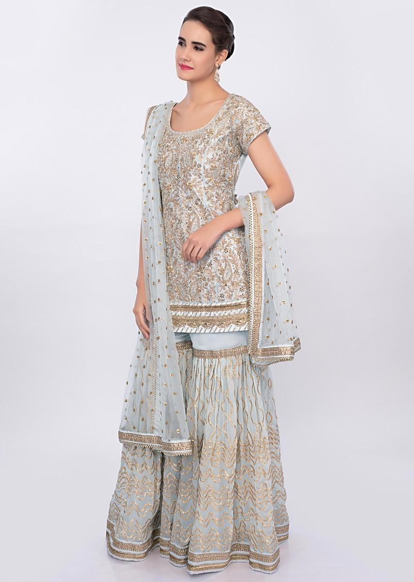 b5f5b60aad Powder blue sharara suit set in heavy lace jaal embroidery only on Kalki