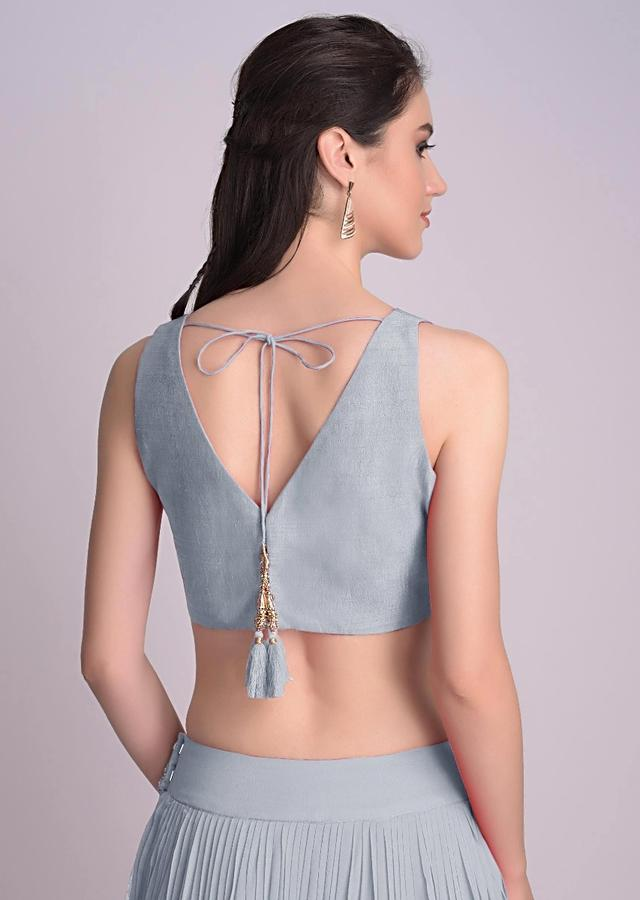 Powder Blue Sleeveless Blouse With V Neckline In The Front And Back Online - Kalki Fashion