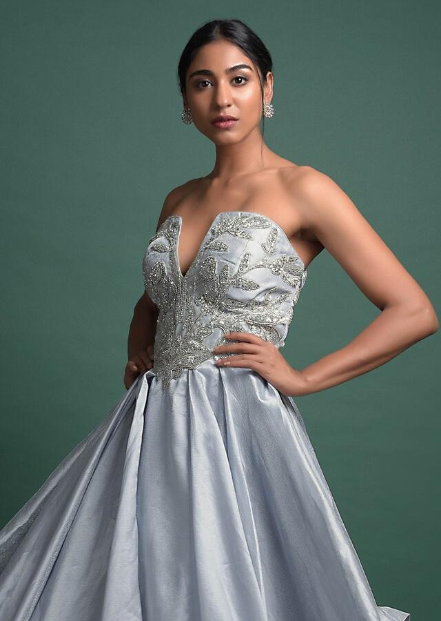 Powder Blue Strapless Ball Gown In Shimmer With Plunging Neckline And Floral Embroidery Online - Kalki Fashion