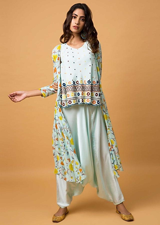 Powder Blue Suit With Embroidered Top, Low Crotch Pants And Floral Printed Jacket Online - Kalki Fashion