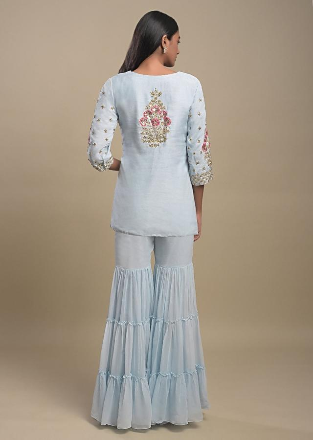 Powder Blue Tiered Sharara Suit With Resham And Cut Dana Work In Floral And Checks Pattern Online - Kalki Fashion