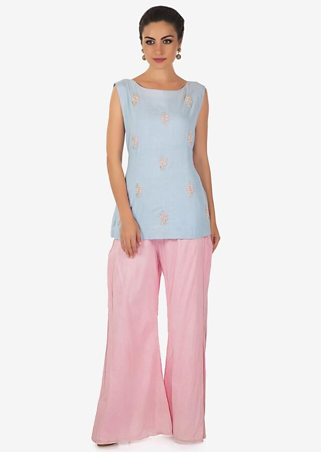 Powder Blue Top In Moti Butti Matched With Pink Palazzo Pants And Floral Printed Jacket Online - Kalki Fashion