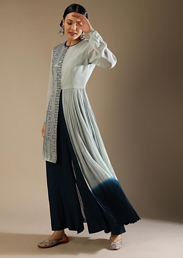 Powder Green And Teal Palazzo Suit With A Sequin Embellished Asymmetric Top Featuring A Front Slit Online - Kalki Fashion