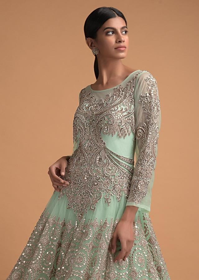Powder Green Ball Gown With Gotta Embroidered Floral And Geometric Pattern Online - Kalki Fashion