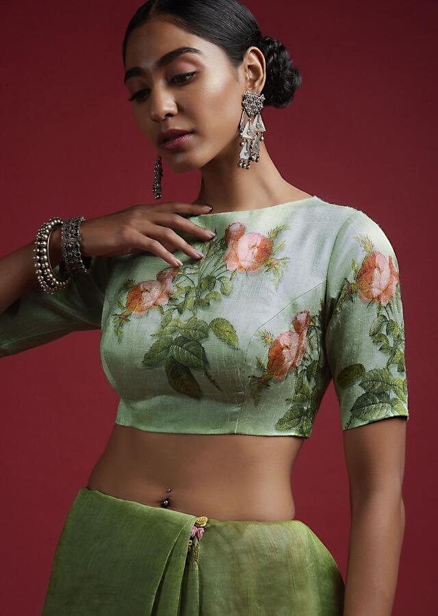 Powder Green Blouse In Silk Blend With Floral Print And Half Sleeves Online - Kalki Fashion