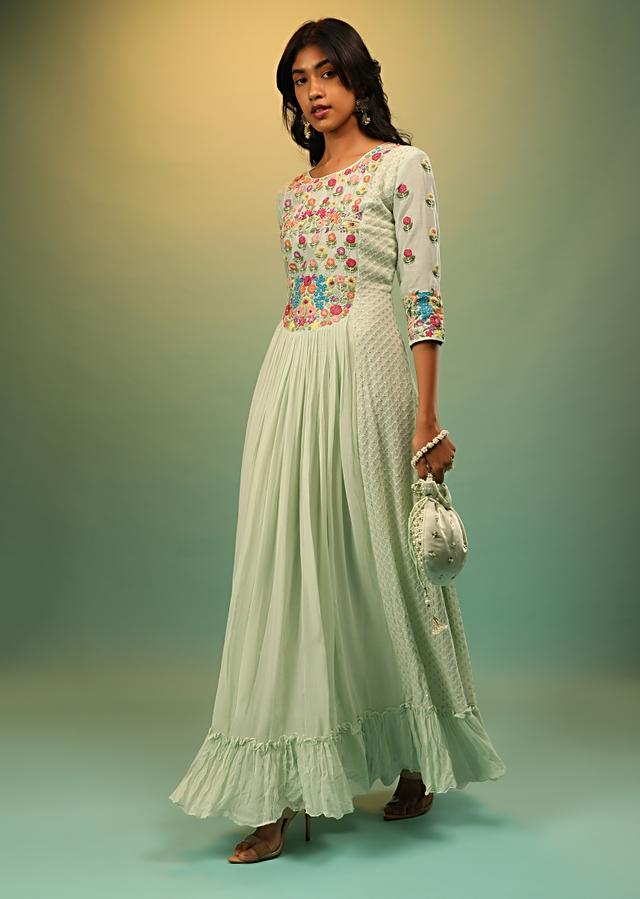 Powder Green Dress In Georgette With Multi Colored Thread And Beads Embroidered Floral Motifs On The Yoke Online - Kalki Fashion