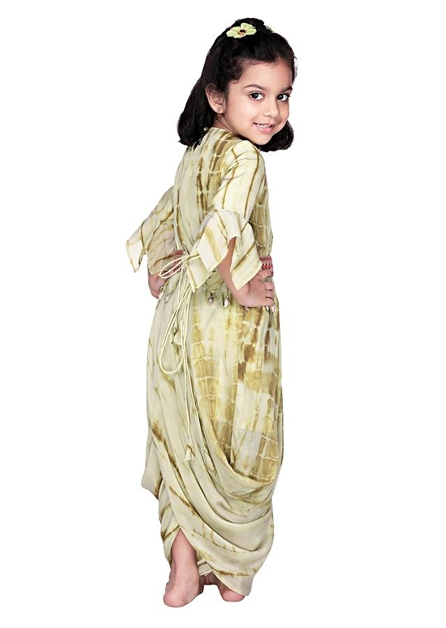 Powder Green Gown With Dhoti Inspired Design And Bell Sleeves Online - Free Sparrow