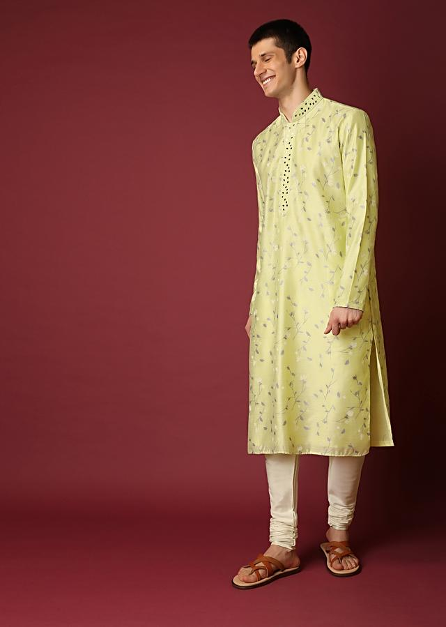 Powder Green Kurta Set In Raw Silk With Foil Printed Jaal And Mirror Embroidery Online - Kalki Fashion