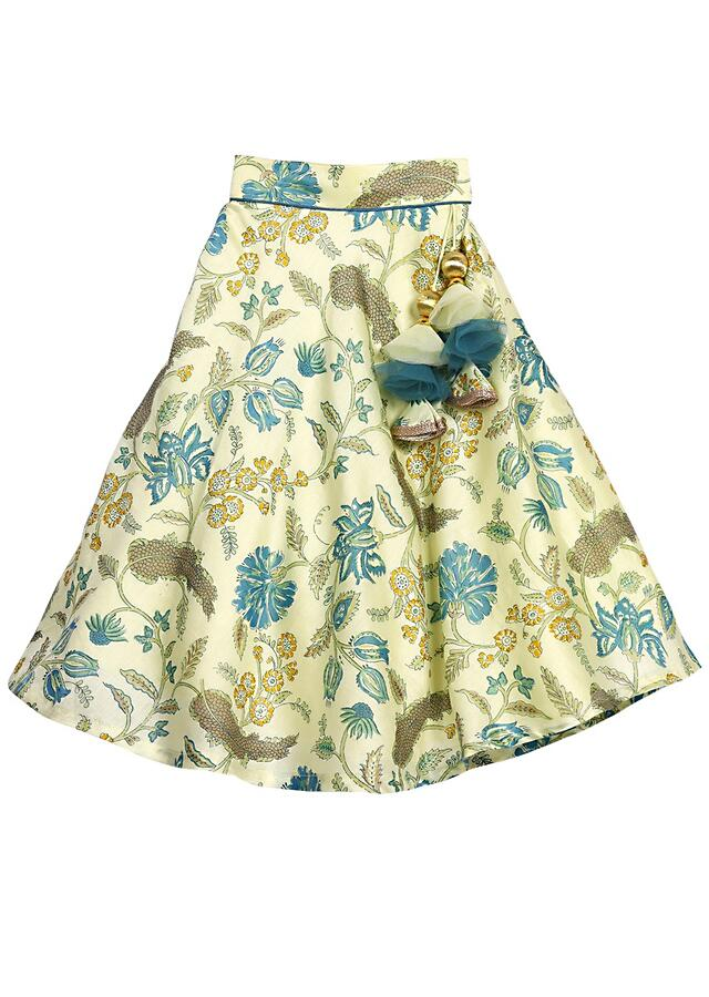 Powder Green Lehenga With Floral Print And Peter Pan Collar Blue Crop Top Online - Free Sparrow