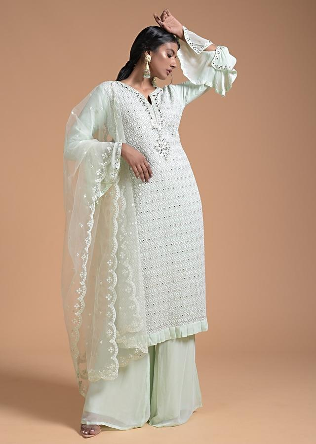 Powder Green Palazzo Suit In Georgette With Thread Embroidered Moroccan Jaal Design Online - Kalki Fashion