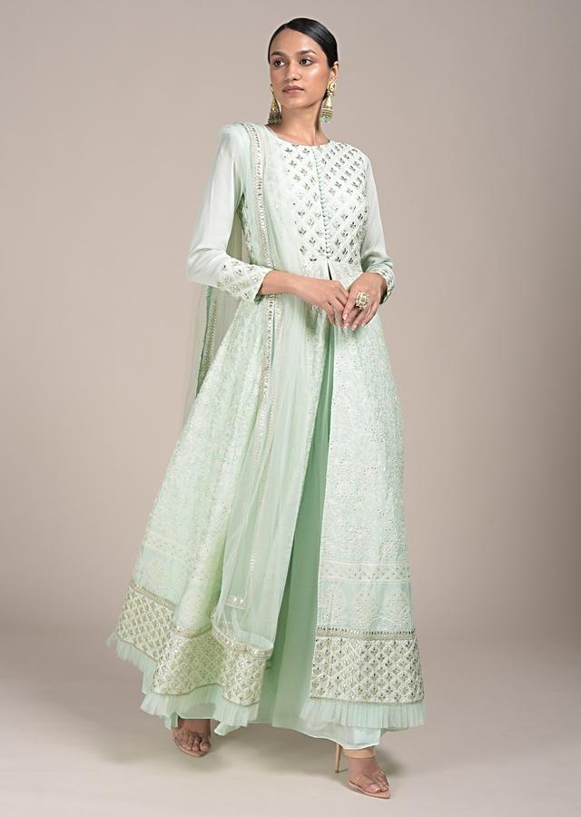 Mint Green Palazzo Suit With A Lucknowi Anarkali Kurti Having A Front Slit And Gotta Work Online - Kalki Fashion