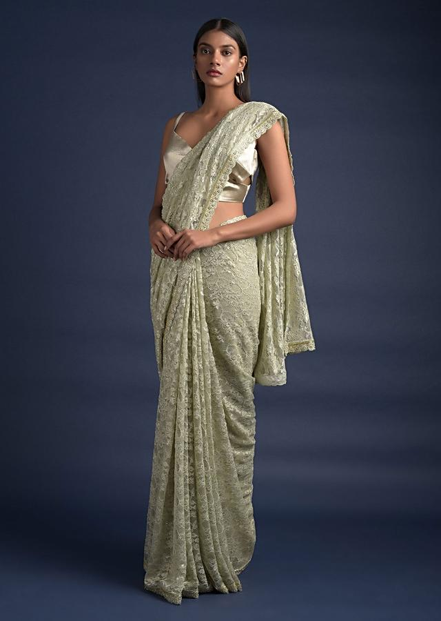 Powder Green Saree In Floral Lace With Kundan Work All Over Online - Kalki Fashion
