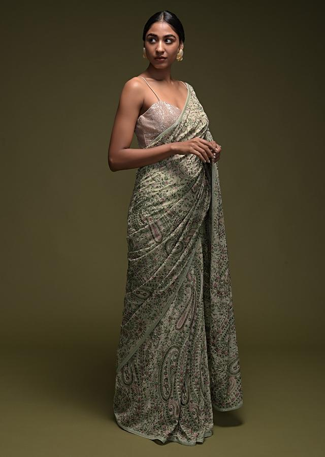 Powder Green Saree In Georgette With Kashmiri Embroidered Floral And Paisley Jaal Online - Kalki Fashion