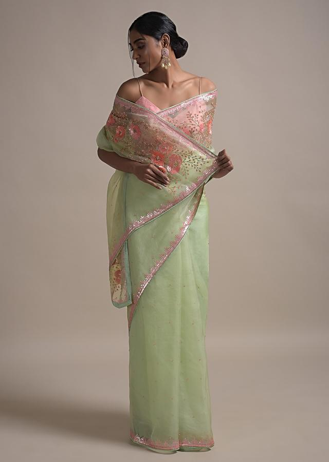 Powder Green Saree In Organza Adorned With Sequins And Pearls Embellished Floral Pattern Online - Kalki Fashion