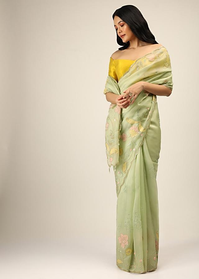 Powder Green Saree In Organza With Multi Colored Applique Flowers And Cut Dana Accents Online - Kalki Fashion