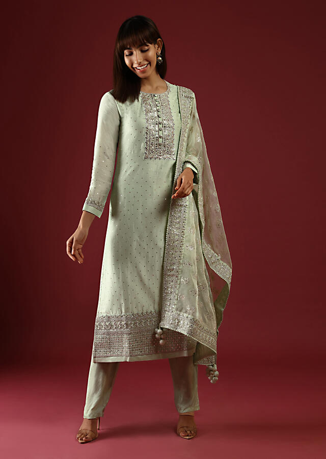 Powder Green Straight Cut Suit With Mirror Work On The Yoke And An Organza Dupatta With Sequins Embroidered Floral Buttis Online - Kalki Fashion