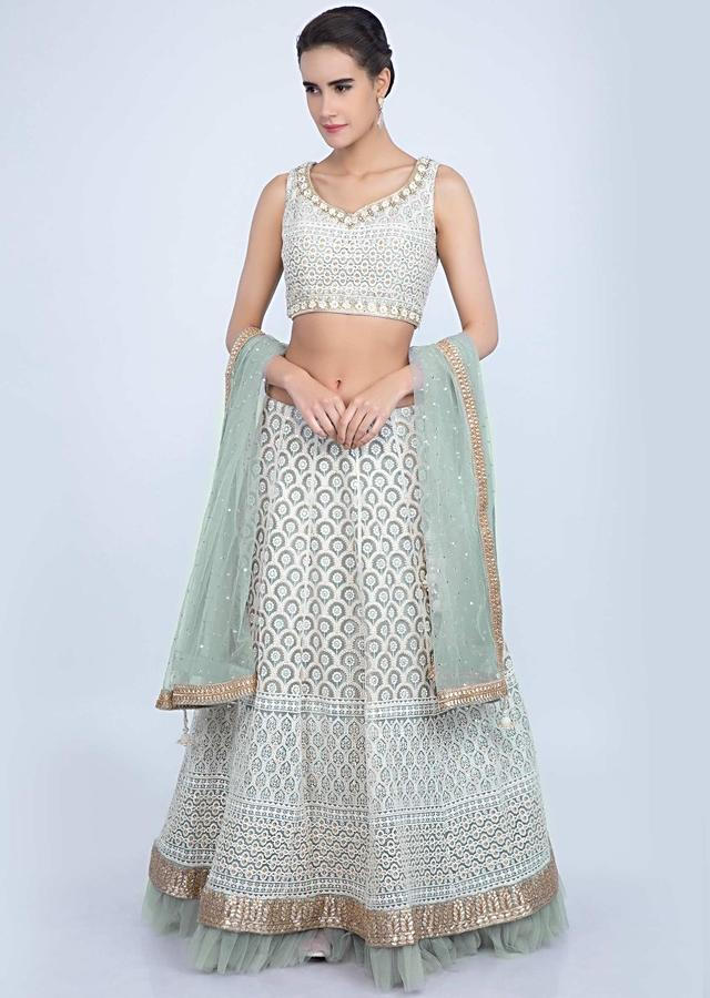 Mint green Lehenga Set With Thread Embroidery And Net Ruching At The Hem Online - Kalki Fashion